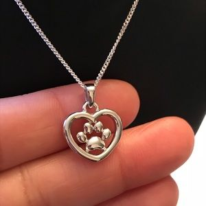 Jewelry - Sterling Silver Paw Heart Necklace